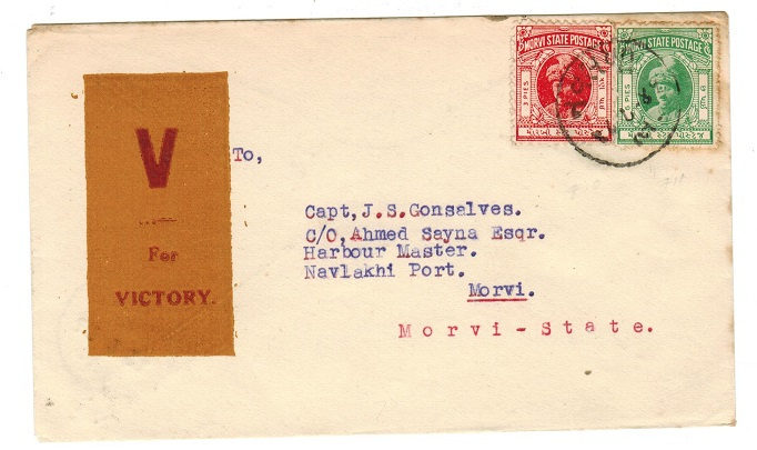 INDIA (Morvi) - 1940 (circa) local 9p rated cover with scarce V/FOR/VICTORY label.