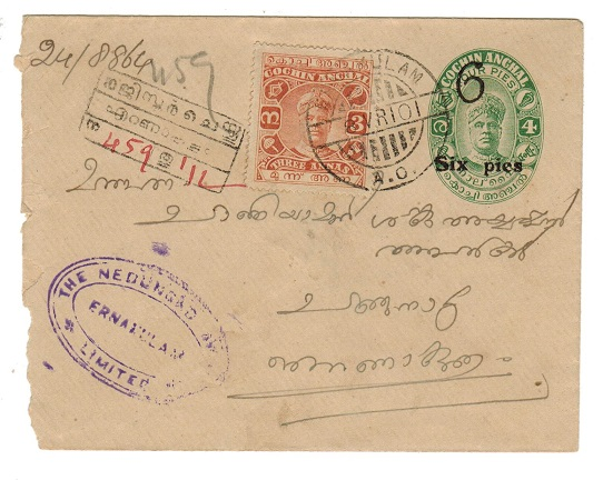 INDIA (Cochin) - 1921 6p surcharge on 4p PSE uprated from ERNAKULAM/A.O.  H&G 11.