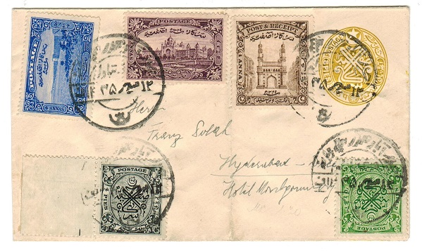 INDIA (Hyderabad) - 1930 8p yellow PSE uprated and used locally.  H&G 22.