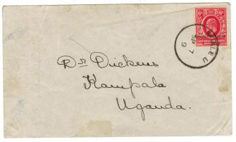 UGANDA - 1909 cover to Kampala with 6c UGANDA REVENUE used at MBALE. One of only 6 known covers.