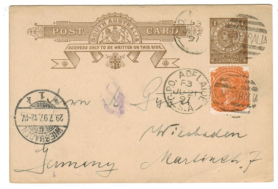 AUSTRALIA (South Australia) - 1893 1d PSC uprated from ADELAIDE.  H&G 3.