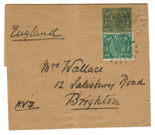 AUSTRALIA (Queensland) - 1892 1/2d postal stationery wrapper uprated to UK.  H&G 1.