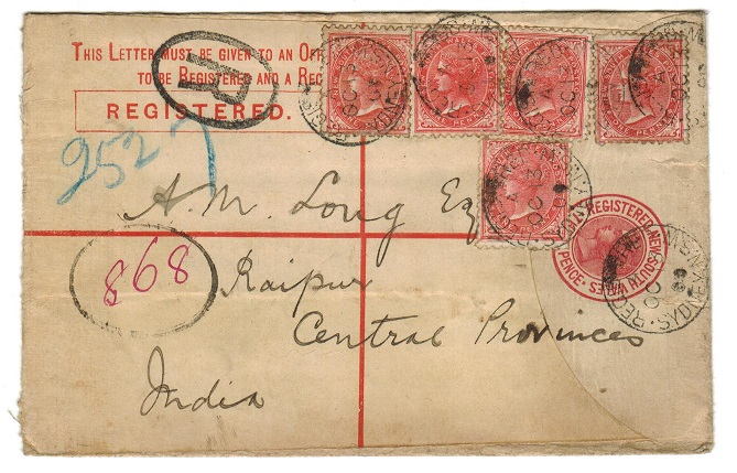 AUSTRALIA (New South Wales) - 1898 3d RPSE uprated with additional 1d (5) to India.  H&G 11a.
