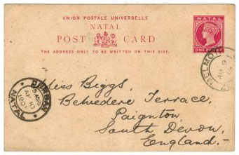 ZULULAND - 1902 1d PSC of Natal addressed to UK used from MELMOTH.