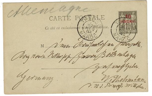 MOROCCO AGENCIES - 1893 10c red on 10c PSC to Germany used at TANGIER.  H&G 1.
