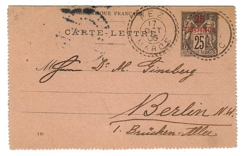 MOROCCO AGENCIES - 1906 25c on 25c postal stationery lettercard used at FEZ.
