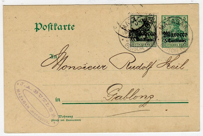 MOROCCO AGENCIES - 1906 use of uprated 5pfg green PSC used from MAZAGAN.
