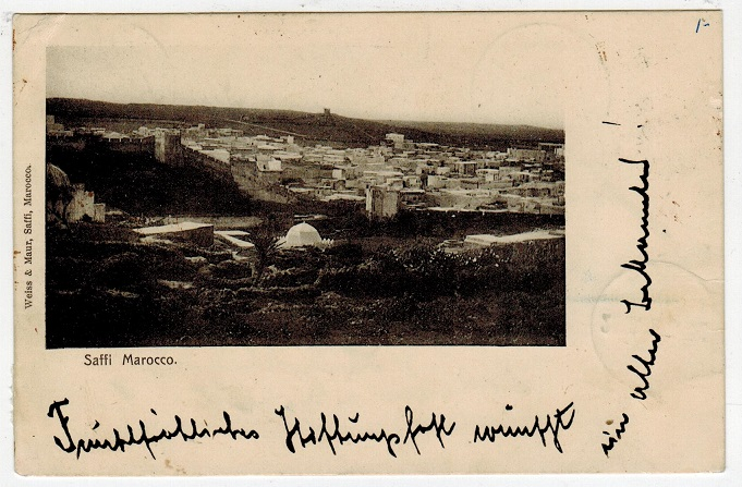 MOROCCO AGENCIES - 1902 use of postcard to Germany used at SAFFI.