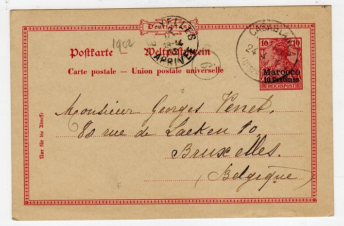 MOROCCO AGENCIES - 1902 use of 10pfg PSC to Belgium used at CASABLANCA.