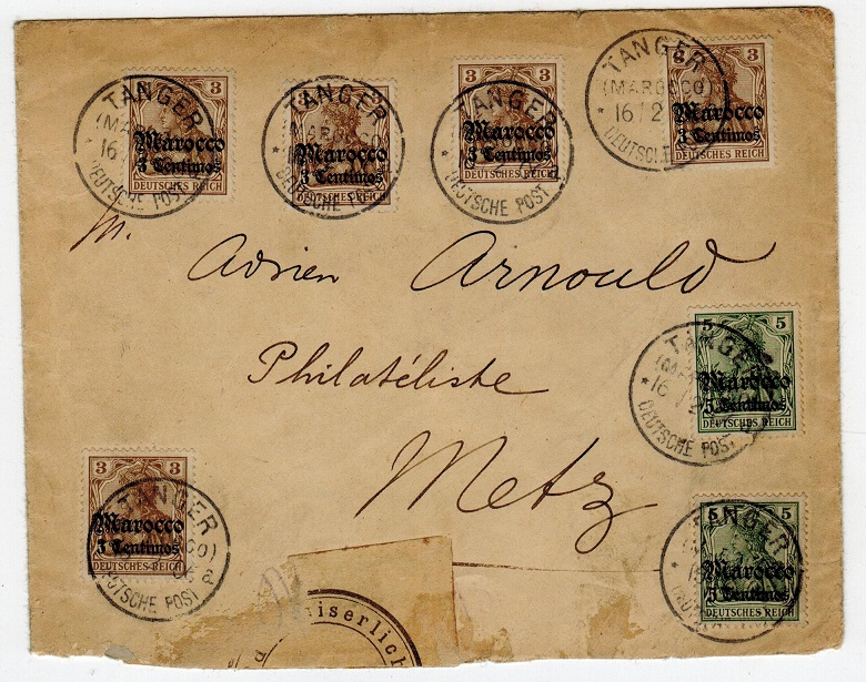 MOROCCO AGENCIES - 1906 cover to Metz with 3pfg(x5)+5pfg(x2) adhesives from TANGIER.