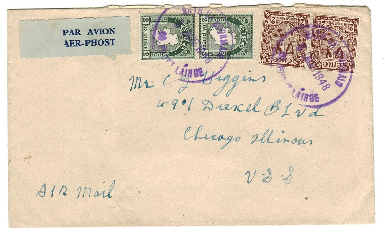 IRELAND - 1948 cover to USA used at LATH UA GOORMAIO with cancellator in violet.