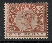 NATAL - 1881 1d brown NATAL TELEGRAPH adhesive in mint condition.