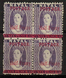 NATAL - 1895 1/2d on 6d block of 4 with REVERESED WATERMARK and differing overprint types.  SG 114.