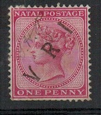 NATAL - 1899 1d rose (SG 99) with unusual V.R.I. overprint and