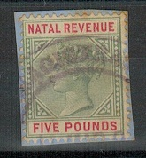 NATAL - 1886 £5 green and red REVENUE with part MAGISTRATES cancel.