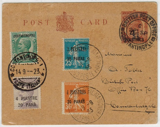 BRITISH LEVANT - 1920 4 1/2p on 1 1/2d PSC used locally with additional French/Italian office use.