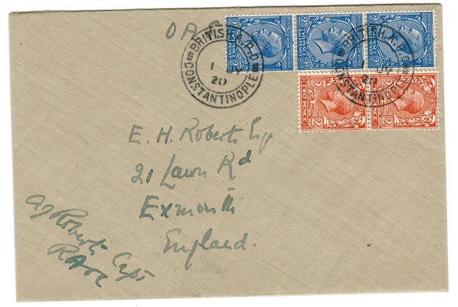 BRITISH LEVANT - 1920 BRITISH A.P.O./CONSTANTINOPLE cover to UK.