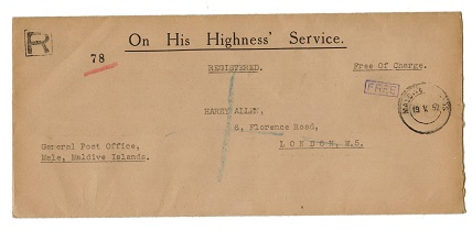 MALDIVE ISLANDS - 1952 OHMS envelope registered to UK handstamped FREE.