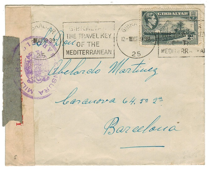 GIBRALTAR - 1939 2d rated cover to Spain with both Gibraltar and Spanish censor labels.