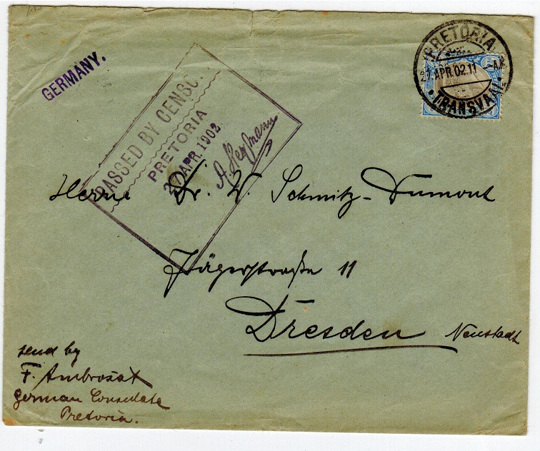 TRANSVAAL - 1902 PASSED BY CENSOR/PRETORIA cover.