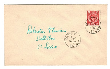 ST.LUCIA - 1958 cover addressed locally bearing 3c used at SALTIBUS.