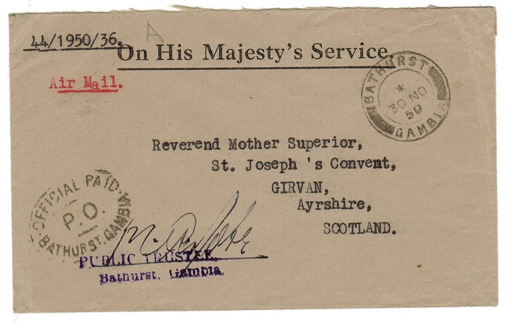 GAMBIA - 1950 OFFICIAL PAID/PO/BATHURST GAMBIA OHMS cover to UK.