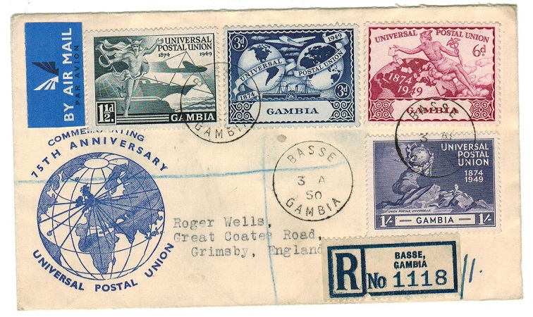 GAMBIA - 1950 registered illustrated UPU cover to UK used at BASSE.