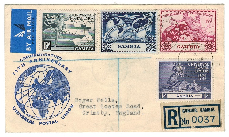 GAMBIA - 1950 registered illustrated UPU cover to UK used at GUNJUR.