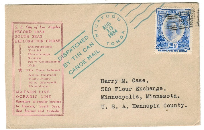TONGA - 1934 S.S.CITY OF LOS ANGELES 2nd cruise maritime cover with