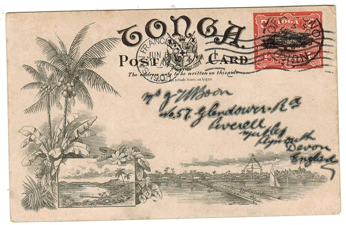 TONGA - 1906 1d illustrated PSC to UK used at NUKU ALOFA showing