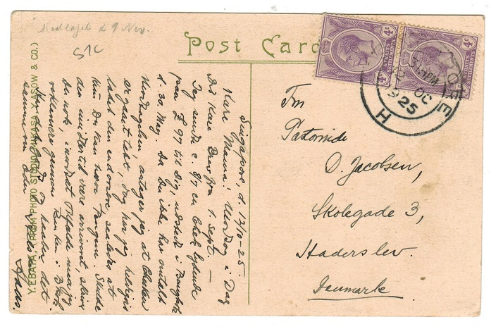 SINGAPORE - 1925 postcard to Denmark with 4c pair tied SINGAPORE/H.