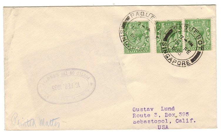 SINGAPORE - 1935 PAQUEBOT/SINGAPORE cover addressed to USA bearing