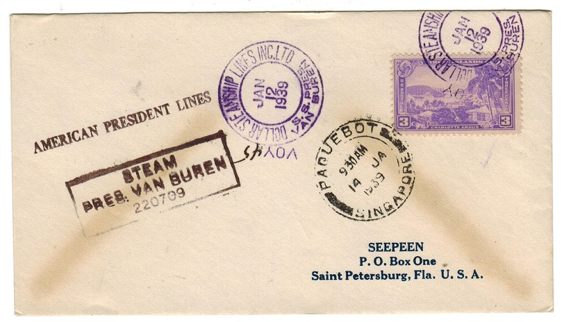 SINGAPORE - 1939 PAQUEBOT/SINGAPORE cover addressed to USA.