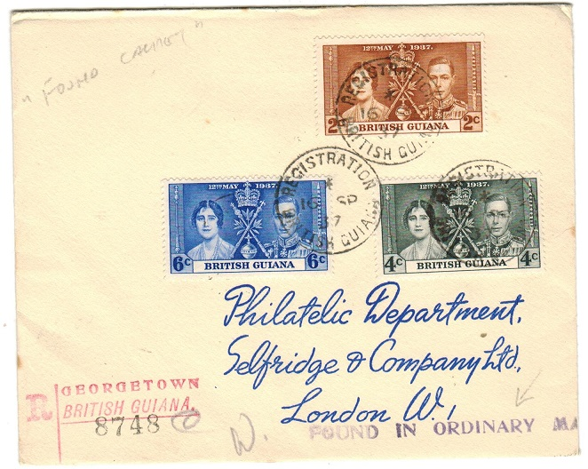 BRITISH GUIANA - 1937 FOUND IN ORDINARY MAIL cover to UK.
