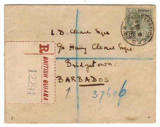 BRITISH GUIANA - 1915 registered cover to Barbados with 6c tied REGISTRATION BG.