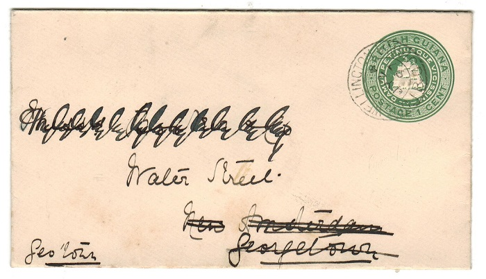 BRITISH GUIANA - 1894 1c green PSE used locally from FORT WELLINGTON.  H&G 1a.