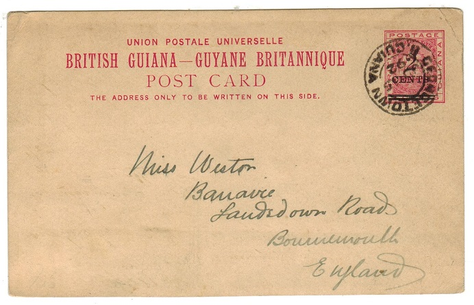 BRITISH GUIANA - 1892 2c black on 3c carmine rose PSC to UK used at GEORGETOWN.  H&G 6a.