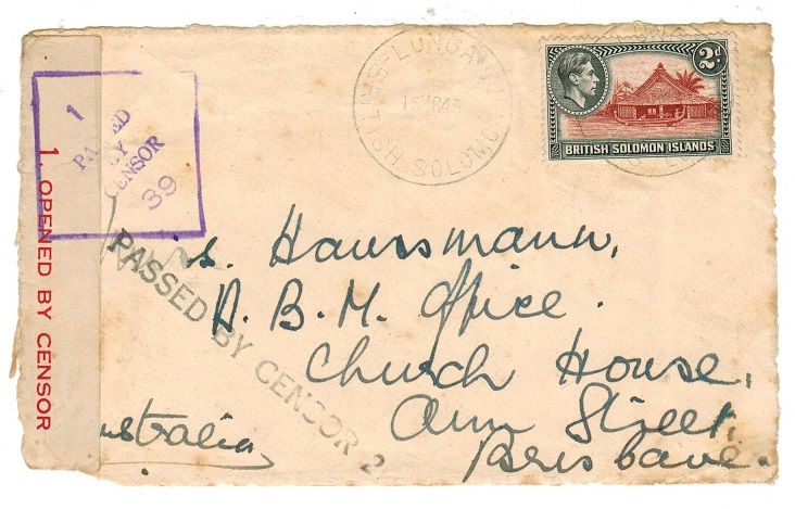 SOLOMON ISLANDS - 1943 PASSED BY CENSOR 2 cover front to Australia from LUNGA.