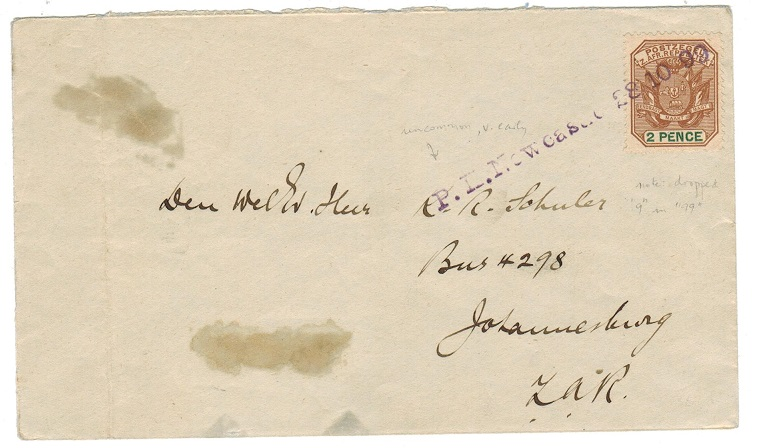 NATAL - 1899 P.K.NEWCASTLE h/s on Boer War cover to Johannesburg.