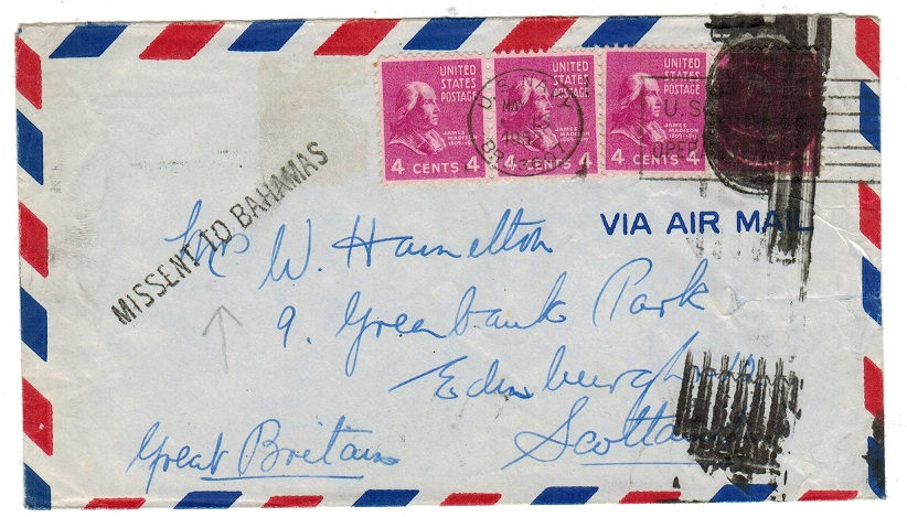 BAHAMAS - 1952 MISSENT TO BAHAMAS cover.