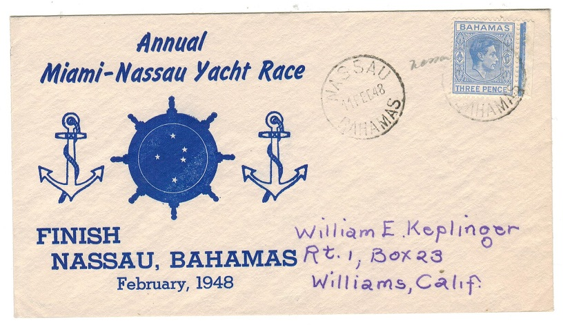BAHAMAS - 1948 MIAMI-NASSAU YACHT RACE illustrated cover to USA.