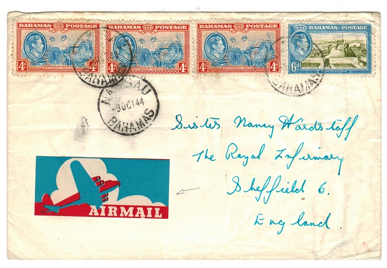 BAHAMAS - 1944 1/6d rate cover to UK with