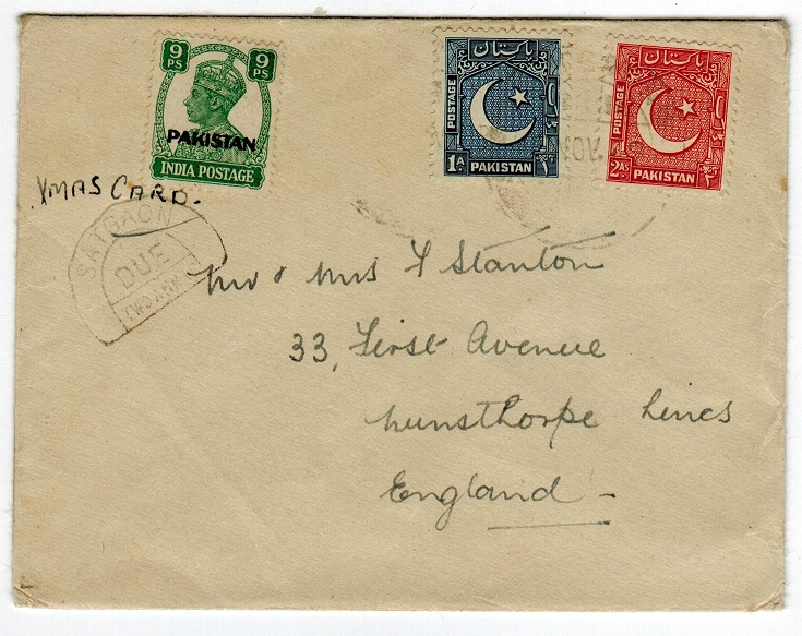 PAKISTAN - 1949 under-paid cover with SATGAON horse-show postage due mark.