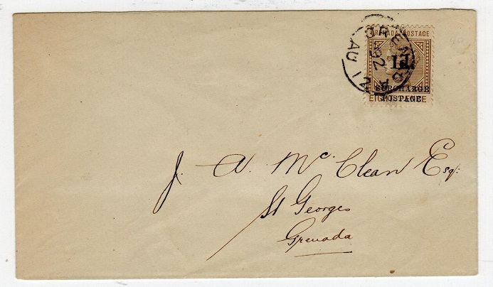 GRENADA - 1892 1d/8d surcharge local cover.