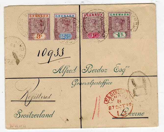 GRENADA - 1899 registered cover to Switzerland.
