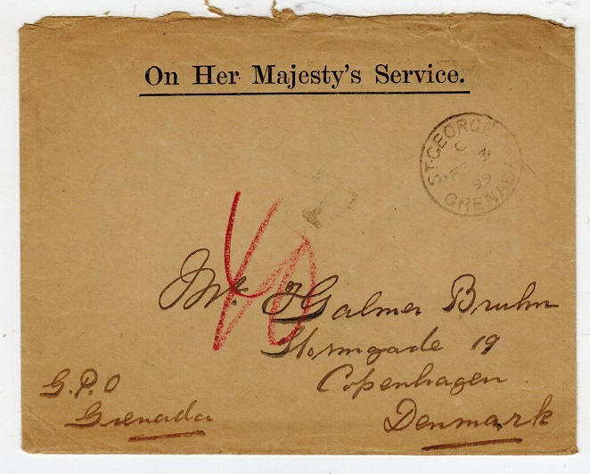 GRENADA - 1899 OHMS cover to Denmark with