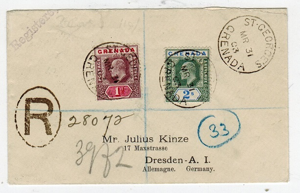 GRENADA - 1903 1d and 2/- adhesive on registered cover to Germany from ST.GEORGES.