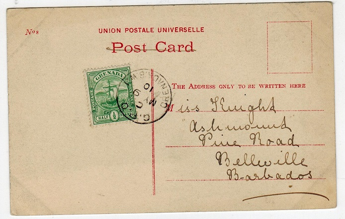 GRENADA - 1910 inter-island 1/2d rate postcard to Barbados.