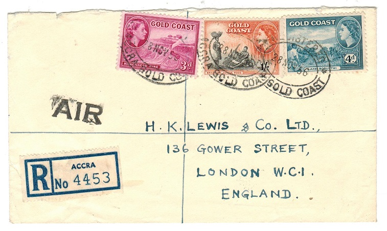 GOLD COAST - 1956 registered cover to UK with AIR instructional handstamp.