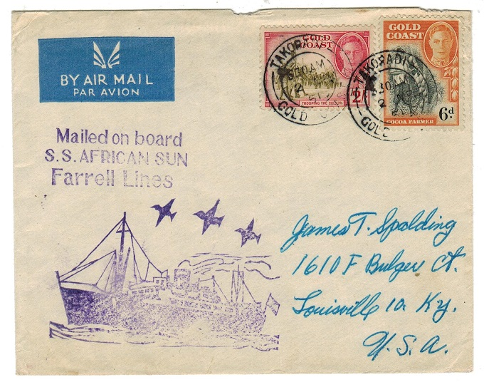 GOLD COAST - 1951 S.S.AFRICAN SUN cacheted maritime cover to USA.